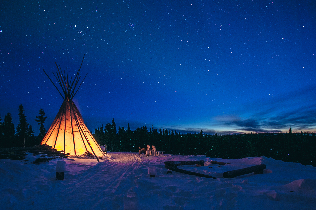 tipi in night
